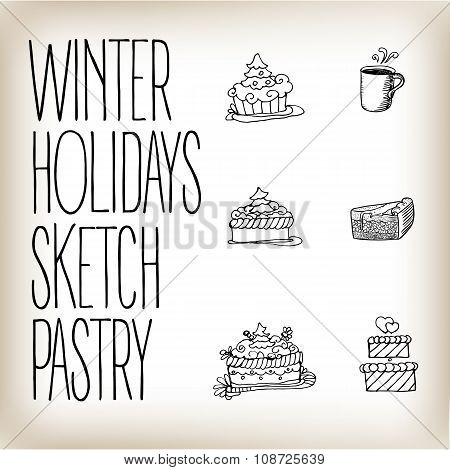 Linear Drawn Holidays Cakes Icons