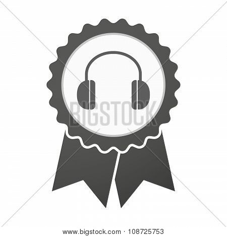 Vector Badge Icon With A Earphones