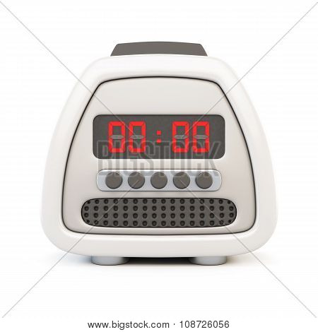 Front View Of A Electronic Watch Alarm Clock Isolated On White Background. 3D.