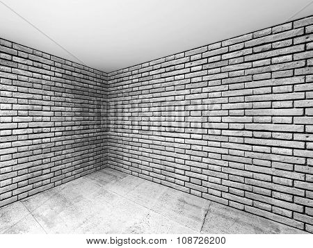 Empty Room Interior With Gray Brick Walls, 3 D
