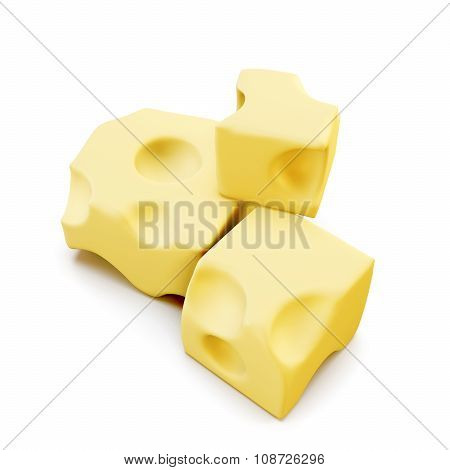 Piece Of Cheese Isolated. 3D.