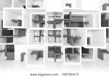 White And Dark Gray Chaotic Cells On The Wall, 3D