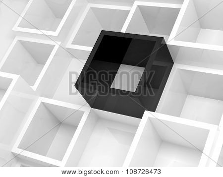 Abstract 3D Background, White Square Cells