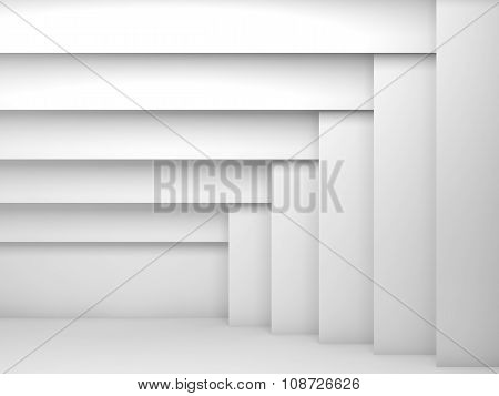 Abstract White Room Interior With Pattern 3D