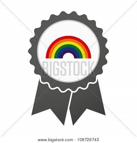 Vector Badge Icon With A Rainbow