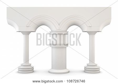 Arch With Columns Isolated On White Background. 3D.