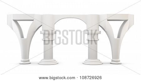 Column Arc Isolated On White Background. 3D.