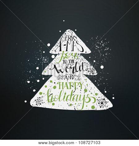Hand Drawn Christmas Tree At Blackboard
