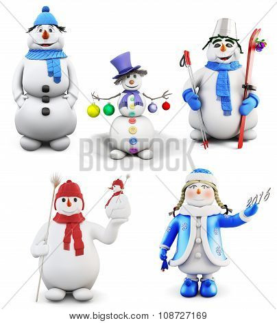 Set Of Cheerful Snowmen Isolated On White Background. 3D.