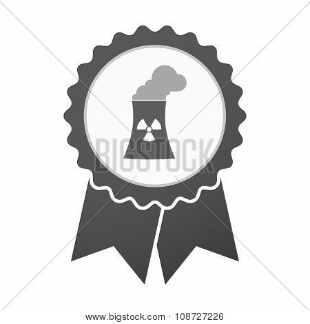 Vector Badge Icon With A Nuclear Power Station