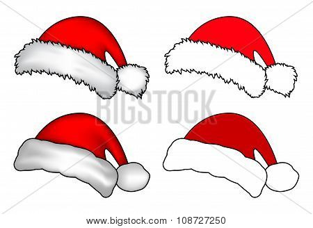 Santa Hat, Christmas Cap Icon Set, Symbol, Design. Winter Vector Illustration Isolated On White Back