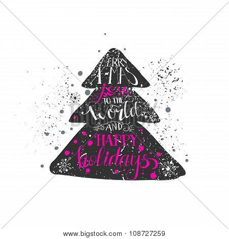 Hand Drawn Grunge Style Christmas Tree
