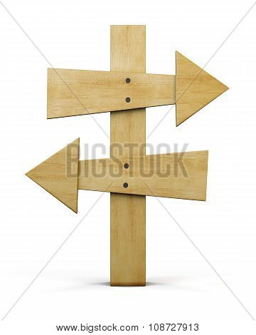Front View Of A Wooden Pointer Isolated On White Background. 3D.