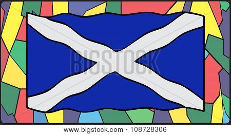Scotland Flag On Stained Glass