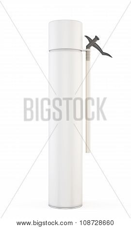 White Tube Construction Foam Isolated On White Background. 3D.