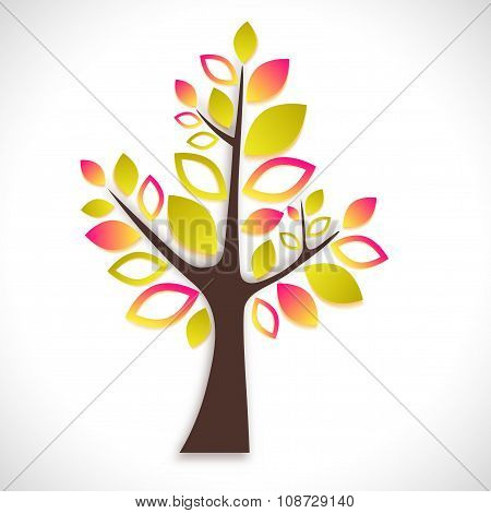 Abstract Tree On White Background - Summer Version