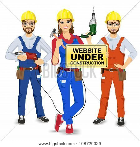 set of two workmen and workwoman