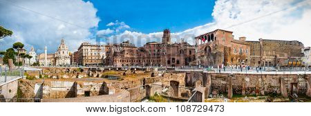 Ruins of the Trajan's Forum (Foro di Traiano) in  Rome, Italy.