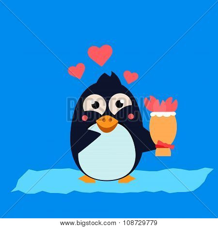 Cute Penguin on Iceberg with Flowers. Vector Illustration