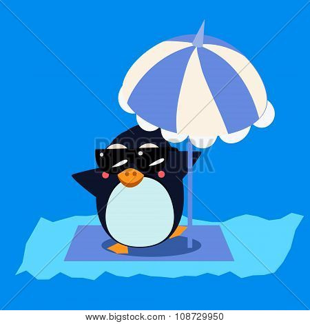 Penguin with Umbrella on the Iceberg. Vector Illustration
