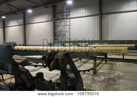 Wood Log Moving To Cutting Machine In Sawmill