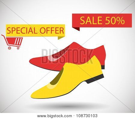 Sale Shoes. Discount Of 50 Percent. Special Offer.