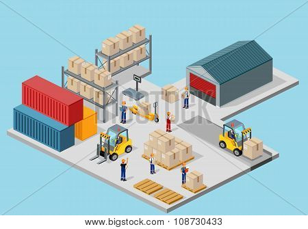 Icon 3d Isometric Process of the Warehouse
