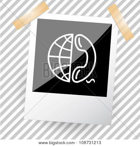 globe and phone. Photoframe. Raster icon.