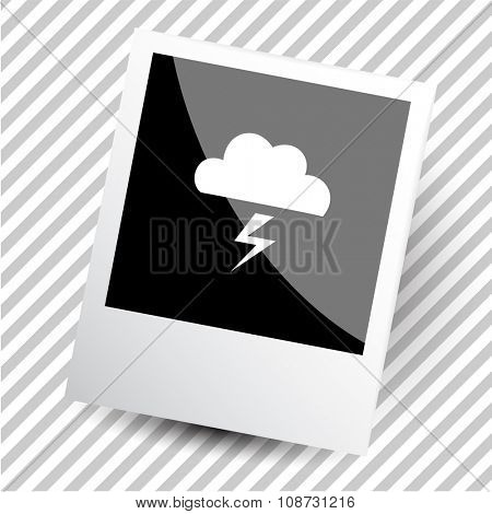 thunderstorm. Photoframe. Raster icon.