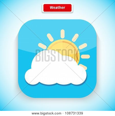 Weather App Icon Flat Style Design