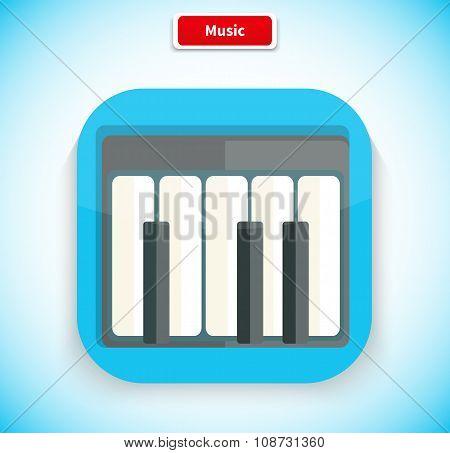Music App Icon Flat Style Design