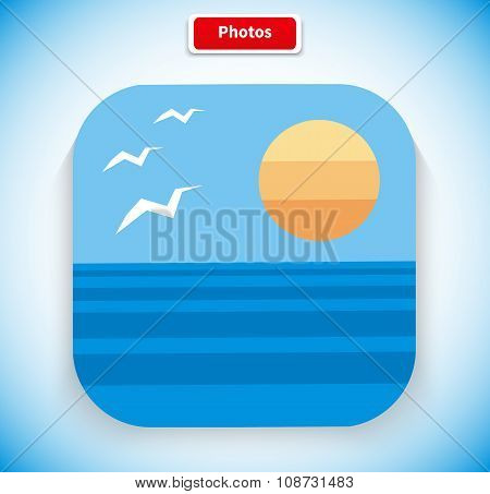 Photo App Icon Flat Style Design