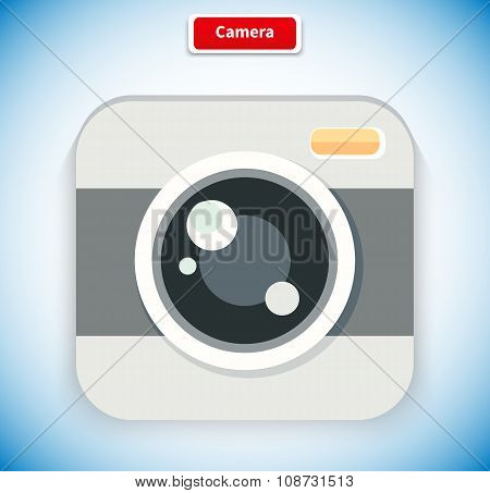 Camera App Icon Flat Style Design