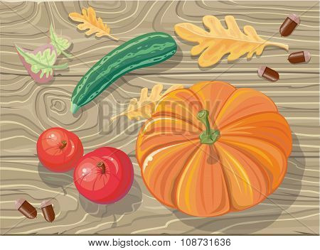 Set of Autumn Fetuses Squash, Apples, Acorns