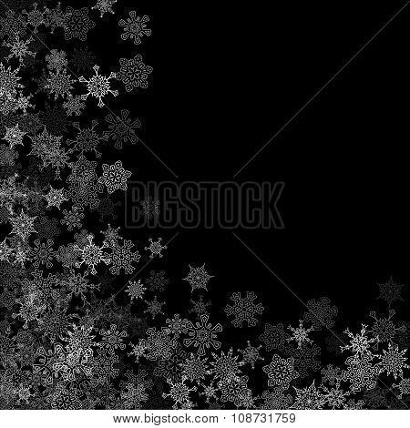 Snowfall with random snowflakes in the dark