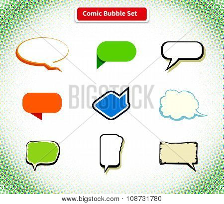 Comic Bubble Set Icon Flat Style Design