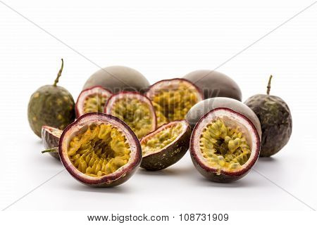 Flesh Of Halved Passionfruits In Their Hard Rind