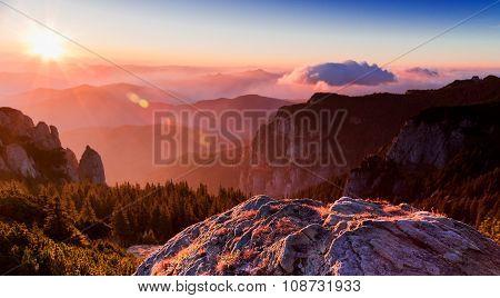 Sunrise On The Mountain Peak Ceahlau