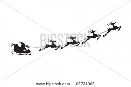 Silhouette of Santa Claus sleigh