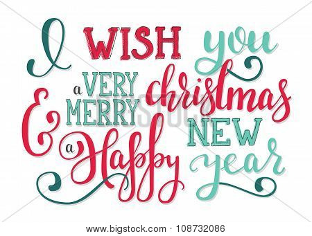 Christmas New Year Lettering Wishes.