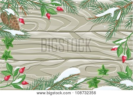 Winter frame wooden texture board