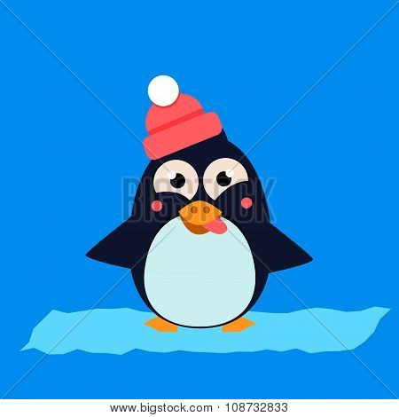 Penguin Wearing Hat Grimacing on Ice. Vector Illustartion