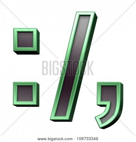Colon, semicolon, period, comma from black with green shiny frame alphabet set, isolated on white. Computer generated 3D photo rendering.