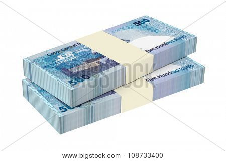 Qatar riyal bills isolated on white background. Computer generated 3D photo rendering.