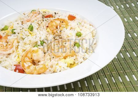 Traditional Chinese Shrimp Fried Rice Dish