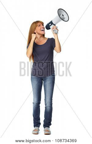 Happy woman with short hair talking in megaphone.