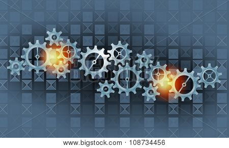 Mechanism of metal gears and cogwheels on blue background