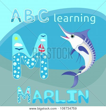 M Is For Marlin Blue striped marlin cartoon character Ocean life fauna Cheerful swordfish, billfish,