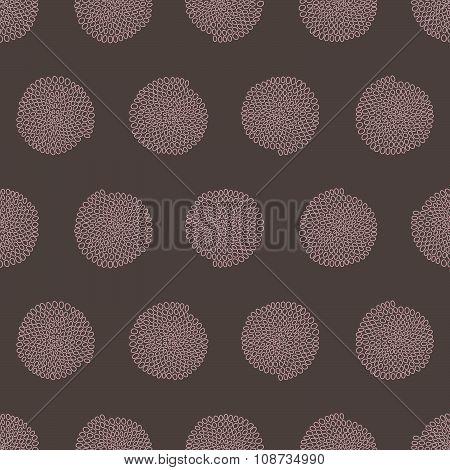 Stylized bead pattern. Round elements. Seamless.