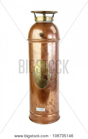 antique fire extinguisher isolated on a white background.